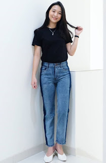 Model Celana Jeans Wanita Side Stripe Jeans