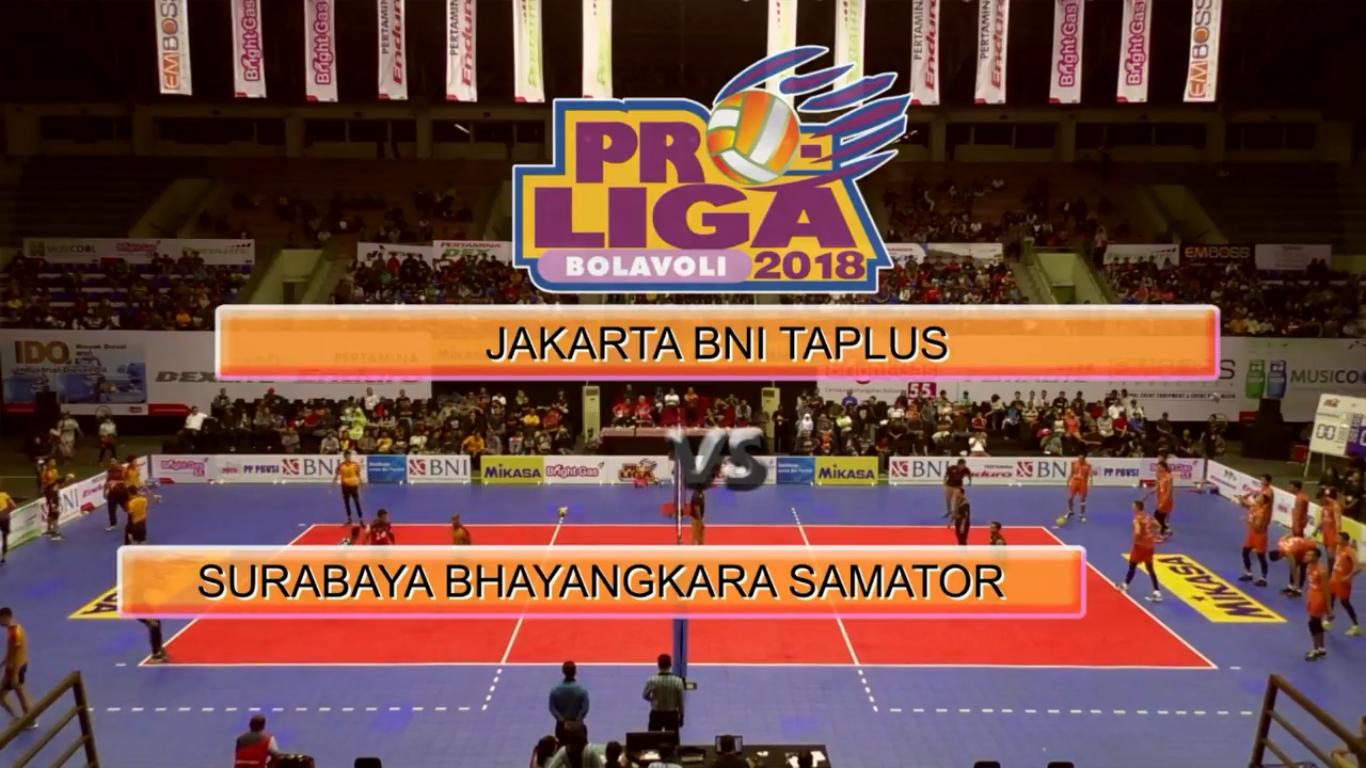 Pemain Surabaya Bhayangkara Samator Jakarta BNI Taplus Proliga 2018
