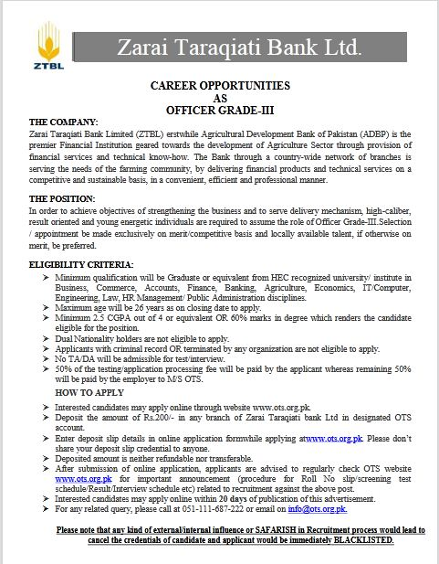 ZTBL Jobs 2020 Apply Online Zarai Taraqiati Bank Limited