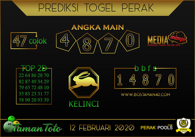 Prediksi Togel PERAK TAMAN TOTO 12 FEBRUARY 2020