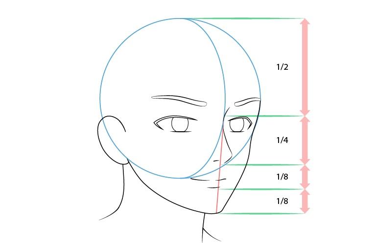 Anime laki-laki wajah 3/4 tampilan gambar mulut