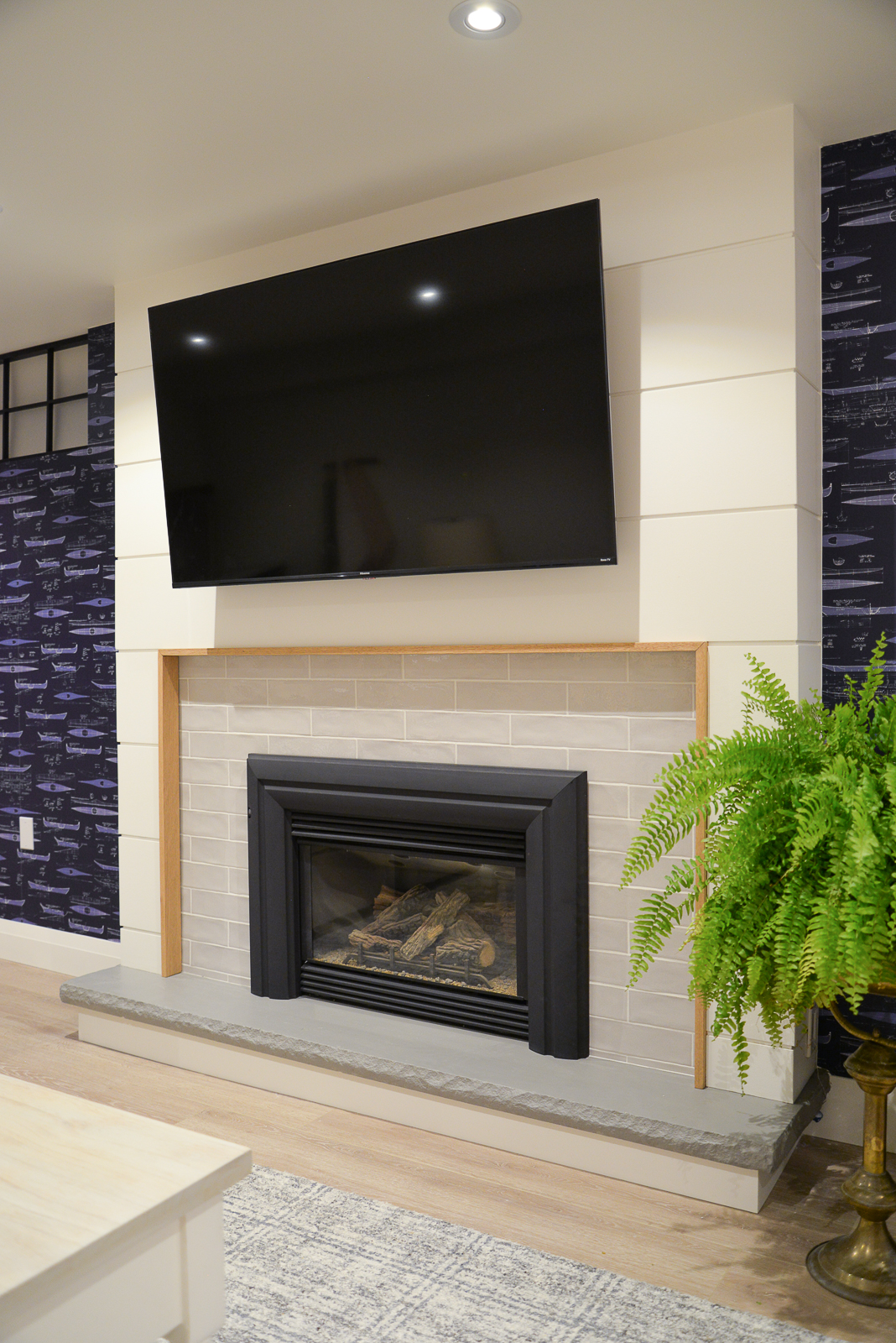 basement tv, hisense roku tv, shiplap fireplace, tile fireplace, fireplace remodel