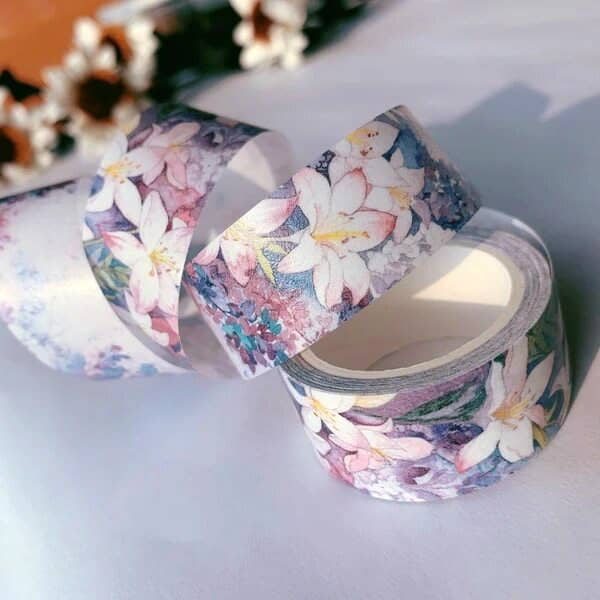 unfurled roll of pastel floral washi tape
