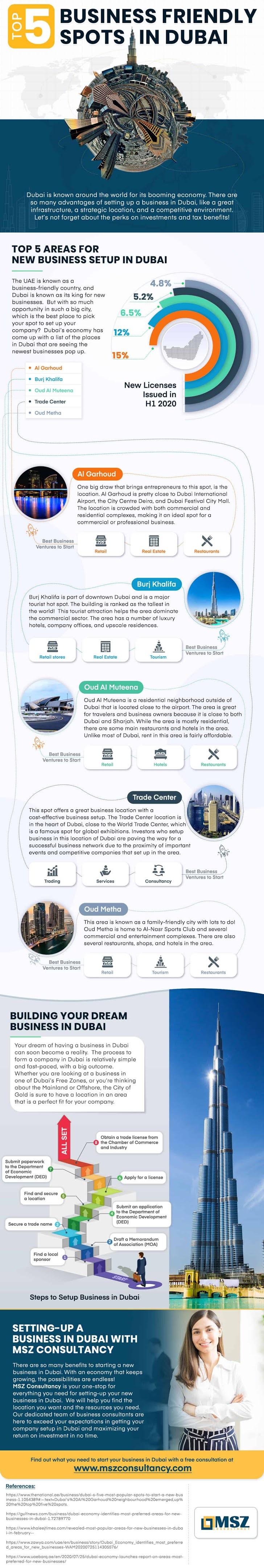 Top 5 Business-Friendly Spots in Dubai #infographic #Business #Dubai