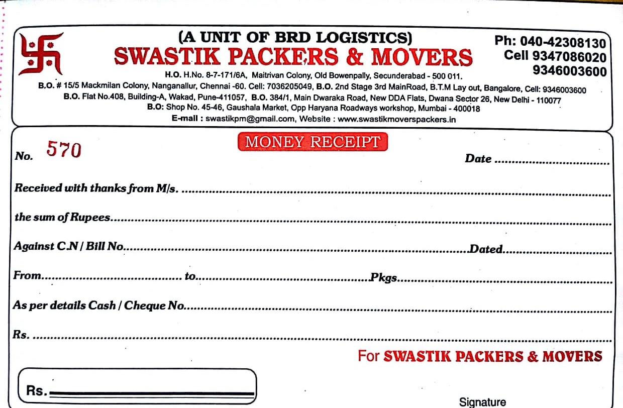 Packers and Movers Bill Format Download 9347086020