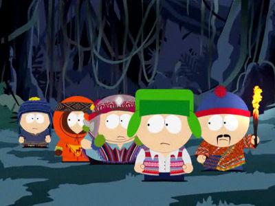 Dibujo de South Park con miedo en la oscuridad
