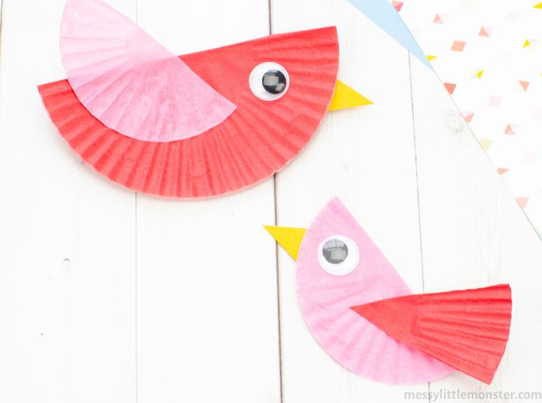 cupcake liner bird craft for kids