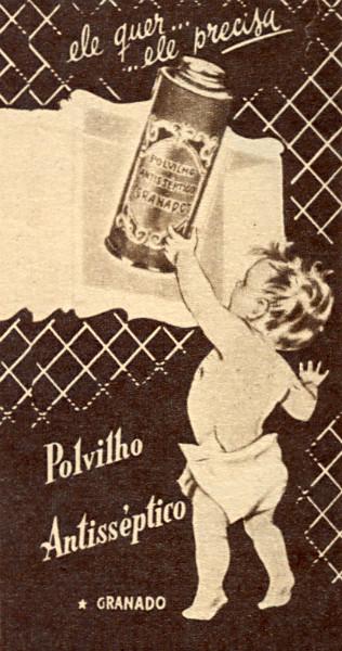 Propaganda antiga da Granado nos anos 50 promovendo seu polvilho antisséptico