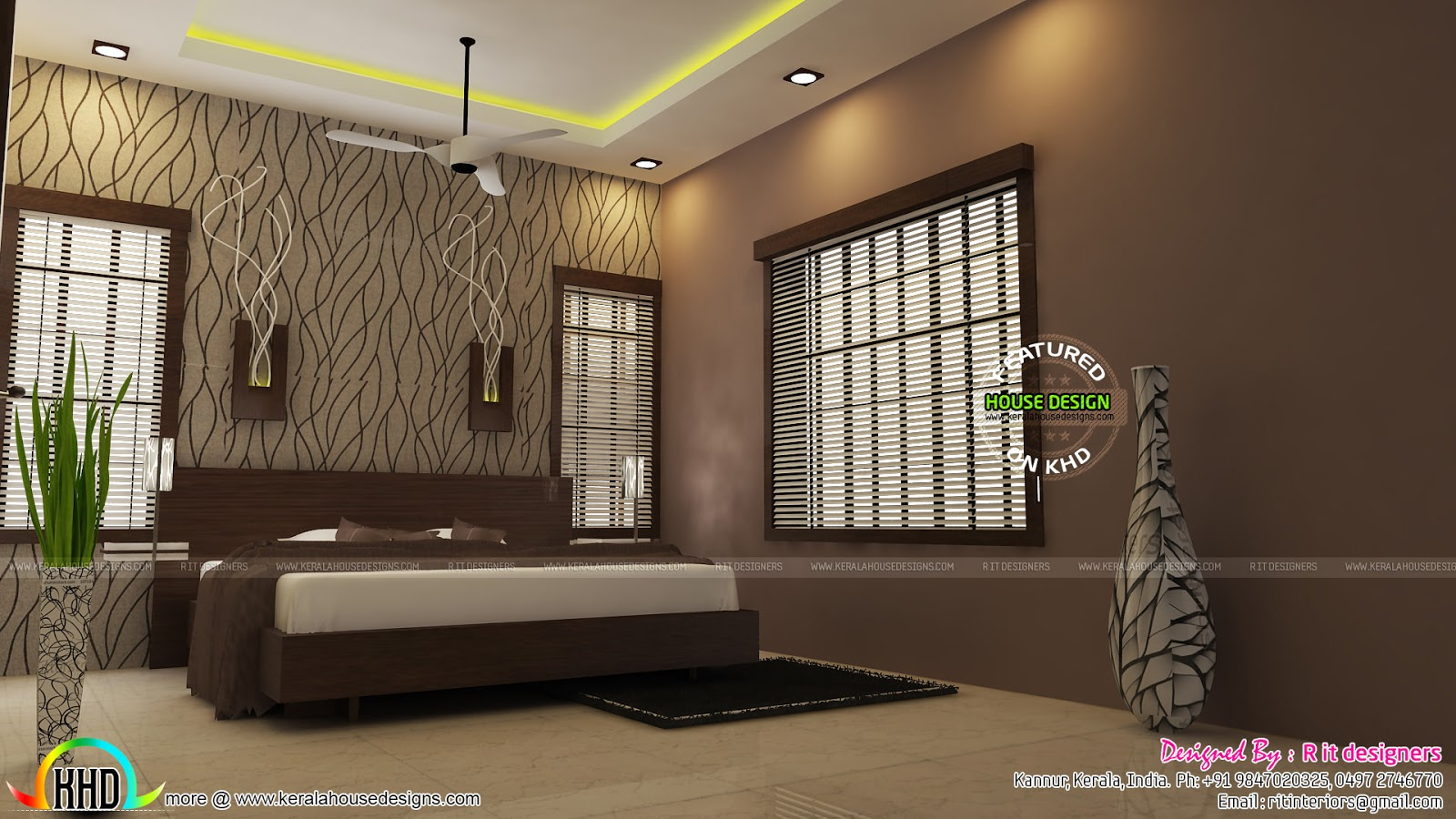 Modular kitchen living and bedroom interior kerala home for 5 bedroom house interior design