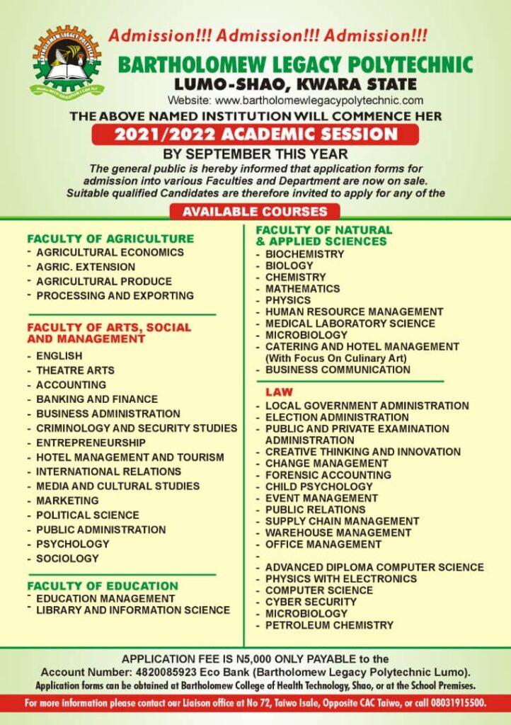 Bartholomew Legacy Polytechnic Post-UTME Form 2021/2022