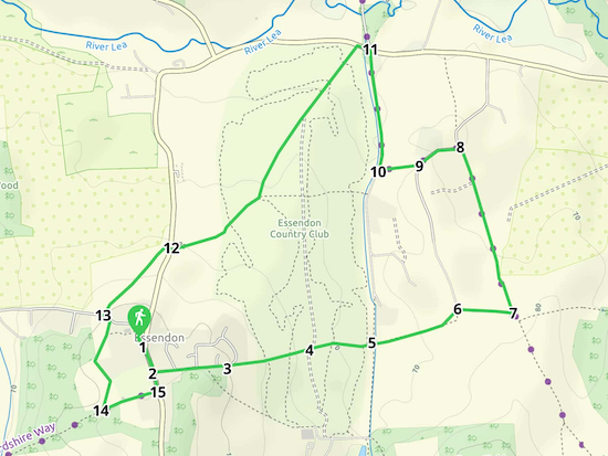 Map for Walk 9: The Howe Green Loop  Created on Map Hub by Hertfordshire Walker  Elements © Thunderforest © OpenStreetMap contributors  Note: There is a larger, more-detailed map embedded at the end of these directions