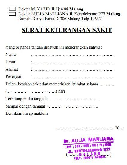 Contoh Surat Keterangan Sakit Dokter Praktek Untuk Siswa