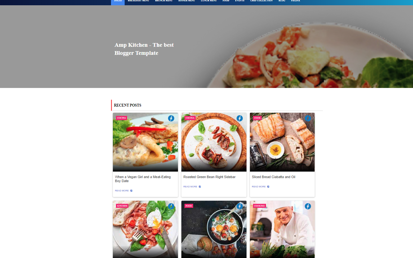 Free AMP Kitchen, AMP Ready Blogger Template