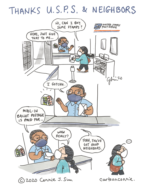 slice of life comic about voting by mail this year and good neighbors at the post office, nyc sketchbook, by connie sun, cartoonconnie, comics and illustration
