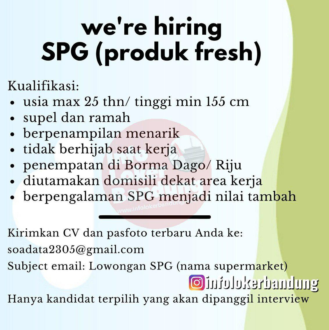 Lowongan SPG Produk Fresh Penempatan Riau Junction & Borma Dago Bandung Januari 2020