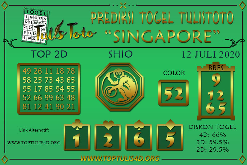 Prediksi Togel SINGAPORE TULISTOTO 12 JULI 2020
