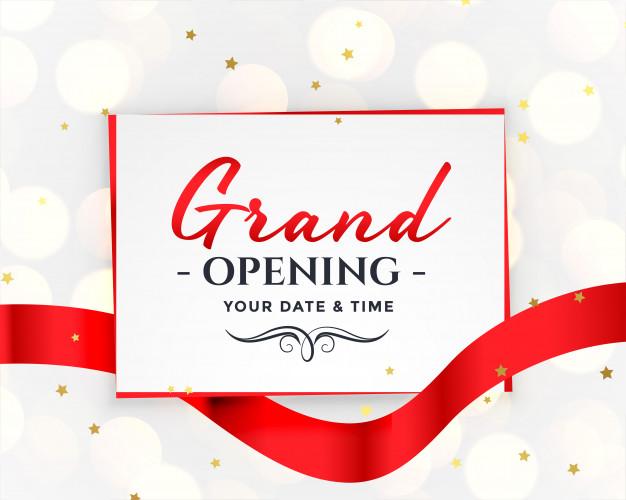 Grand opening white invitation Free Vector