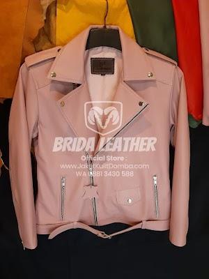 Jual Jaket Kulit Asli Garut Wanita Domba Ramones Pink Original Brida Leather | WA 08813430588
