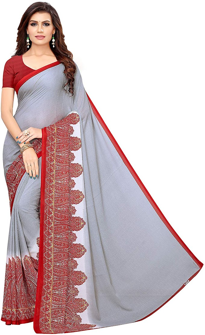 GLE Soft Georgette Saree With Blouse, Ideal For Women & Girls (GLE YAMINI GREY_Multicolour_Free Size)