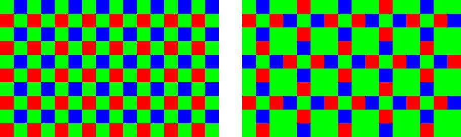 Изображение цветовой схема фильтра Байера и X-Trans