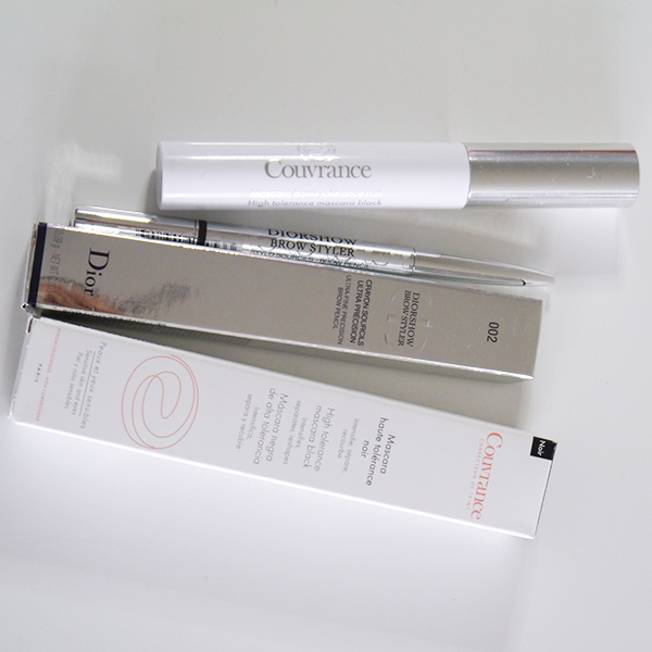 Avene Couvrance High Tolerance Mascara in black and Diorshow Brow Styler brow pencil in dark brown