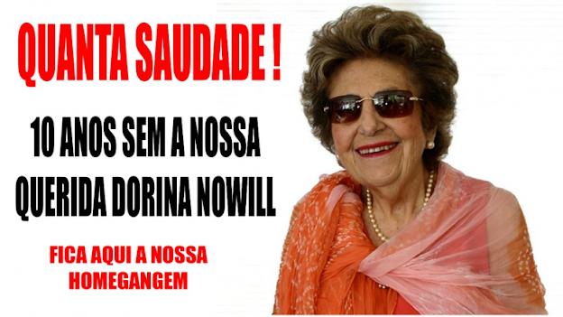 A foto mostra a Dorina sorrindo, ela usa óculos e . Ao lado o texto: Quanta saudade, 10 anos sem a nossa querida Dorina Nowil. Fica aqui a nossa homenagem.