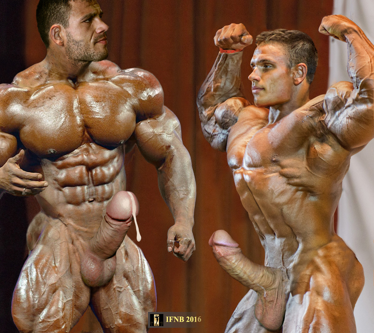 Naked pro male bodybuilder