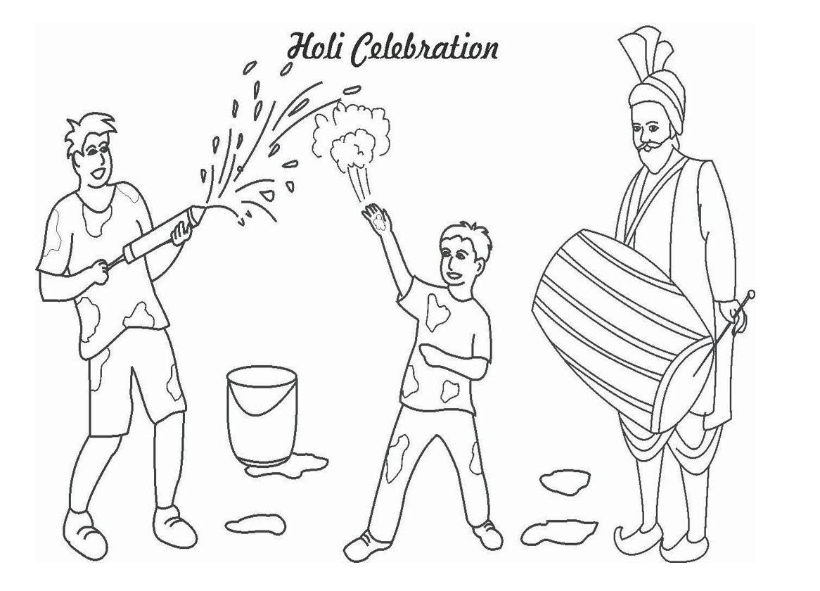 download holi drawaing for kids in HD