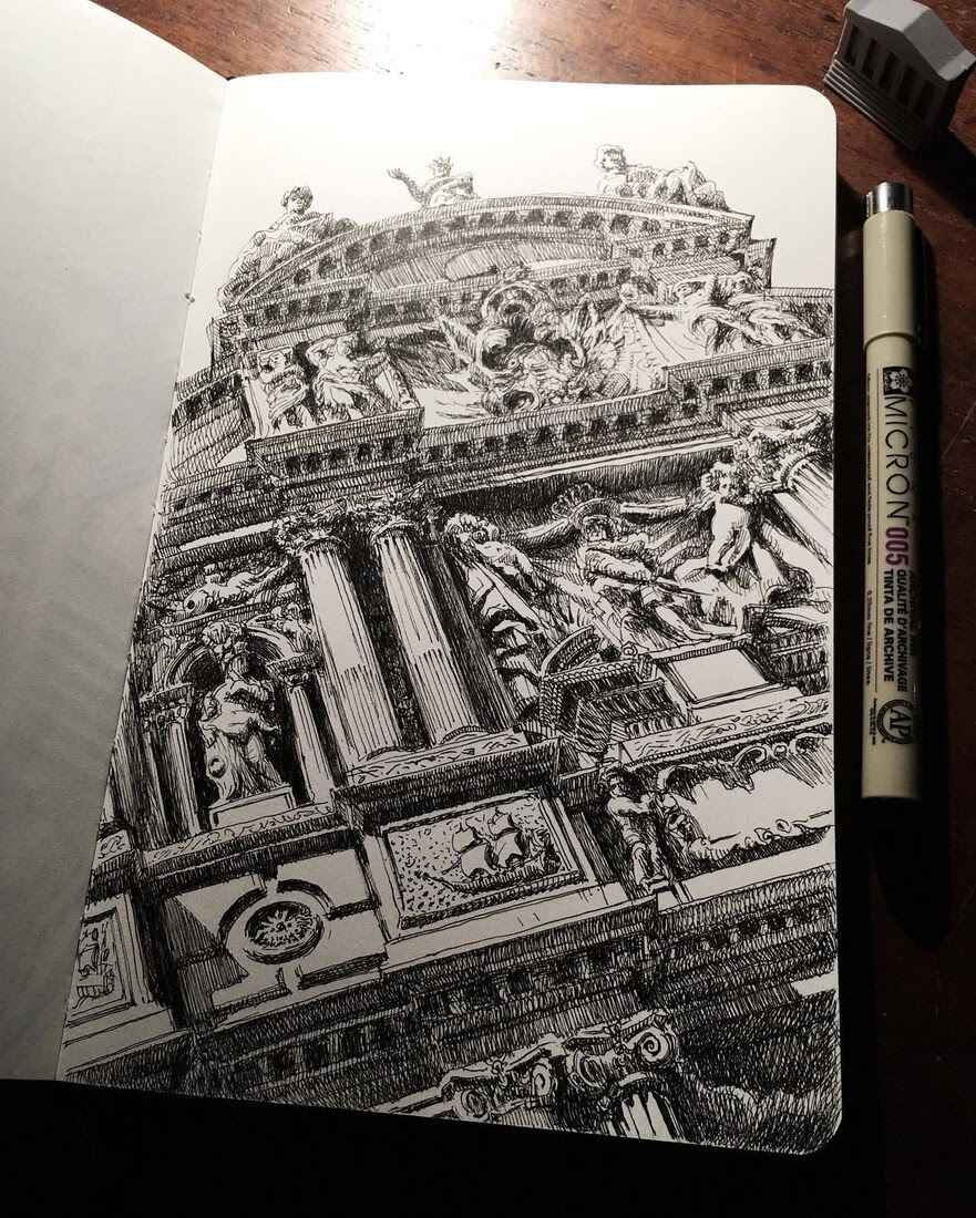 06-Pen-Death-in-Venice-Mark-Poulier-Drawing-Urban-Architecture-on-a-Sketchbook-www-designstack-co