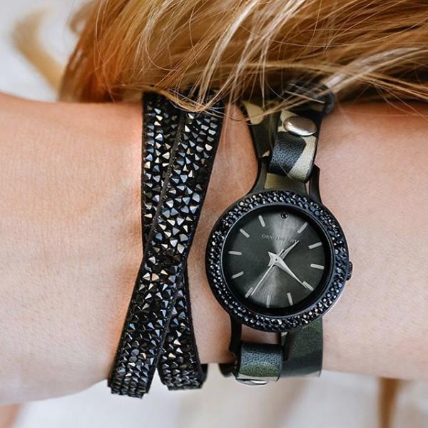 Black Watch and Jet Swarovski Crystal Wrap Bracelet at StoriedCharms.com