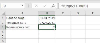 Как посчитать количество лет между датами в Excel