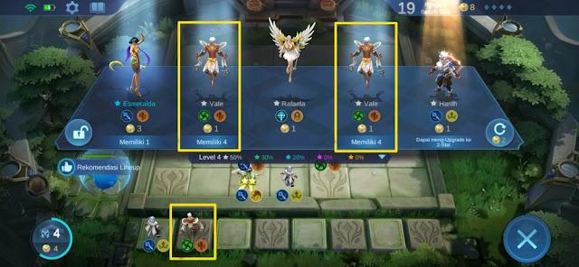 membeli hero dengan faction dan role yang sama untuk upgrade