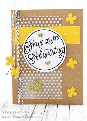 Stampin up Grußelemente, Match the Sketch, Stempel-Biene, Geburtstagskarte basteln, Bastelworkshop Recklinghausen, Stampin Up Winterkatalog 2015 vorbestellen