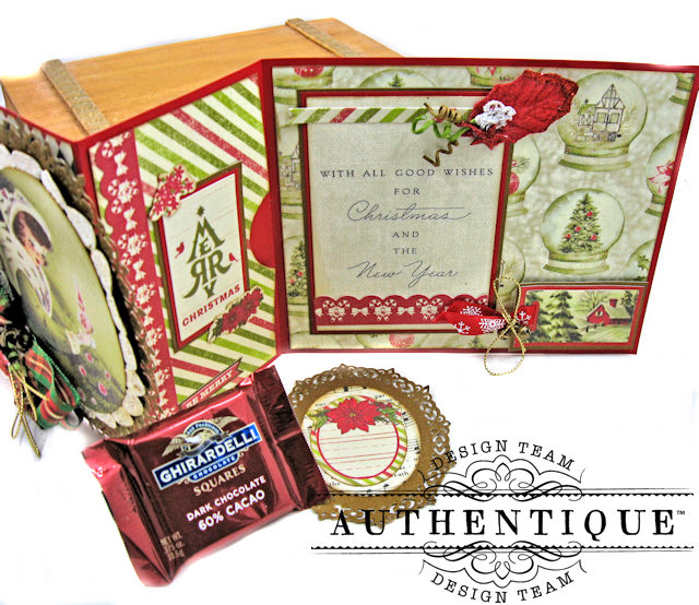Authentique Vintage Christmas Z Fold Cards 3 Ways Tutorial by Kathy Clement Product by Authentique Photo 4