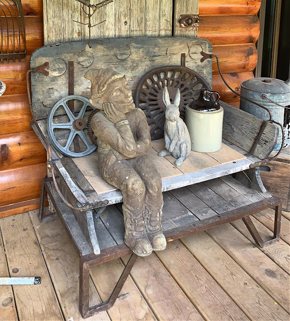 Photo of outdoor junk decor on the deck