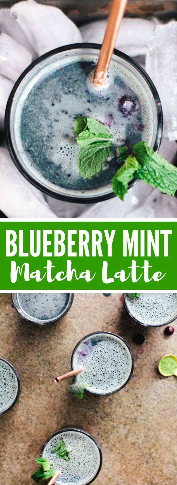 Blueberry Mint Matcha Latte #drinks #homemade