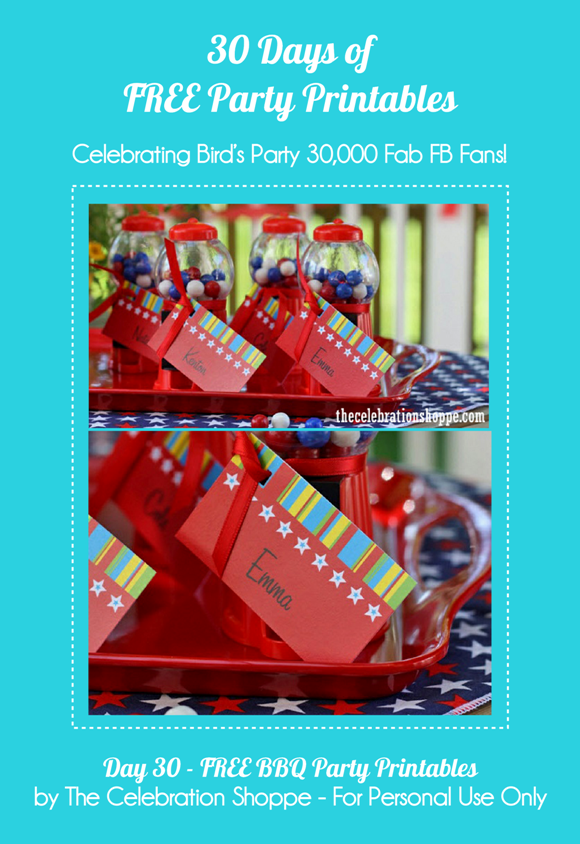 Free BBQ Party Printables Kit - via BirdsParty.com