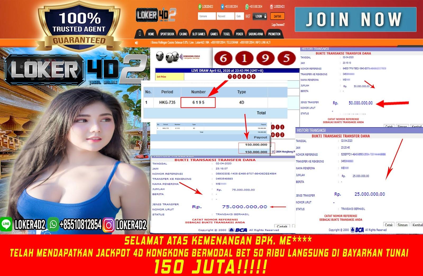 JACKPOT 150 JUTA DI PASARAN HONGKONG!!!! LANGSUNG DI BAYARKAN
