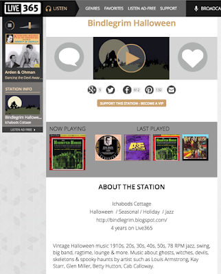 Final screenshot of defunct online radio station Bindlegrim's vintage Halloween music station