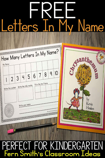 Free Chrysanthemum Activity Letters In My Name Worksheet For Your Classroom in this Freebie Friday Blog Post from #FernSmithsClassroomIdeas