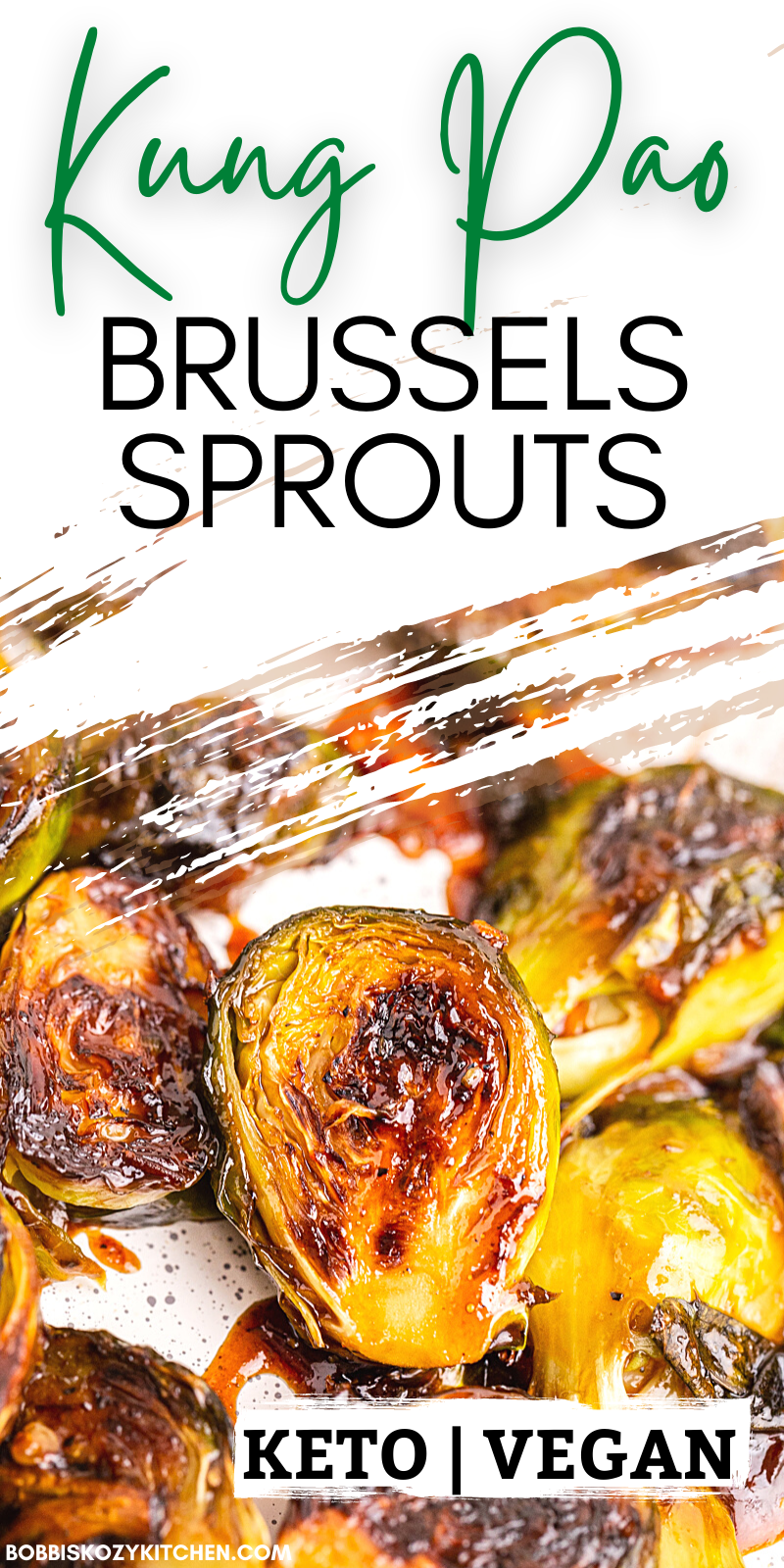 Kung Pao Brussels Sprouts - This Kung Pao Brussels sprouts dish is my keto take on a popular Chinese stir-fry recipe, Kung Pao chicken. Roasted brussels sprouts coated with a sweet and spicy glaze, it is crazy good and so addictive! #keto #lowcarb #glutenfree #vegetarian #vegan #vegetable #sidedish #easy #chinese #brusselssprouts #recipe
