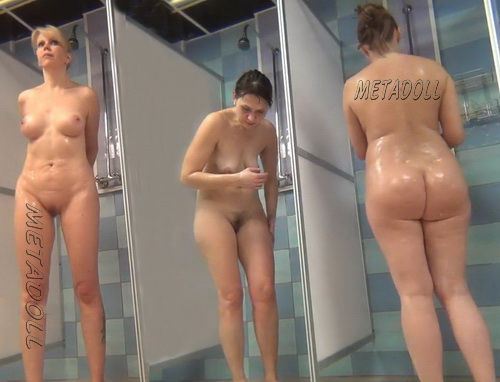 Hidden cam in the shower room for ladies (Hidden Camera Public Shower 117-129)