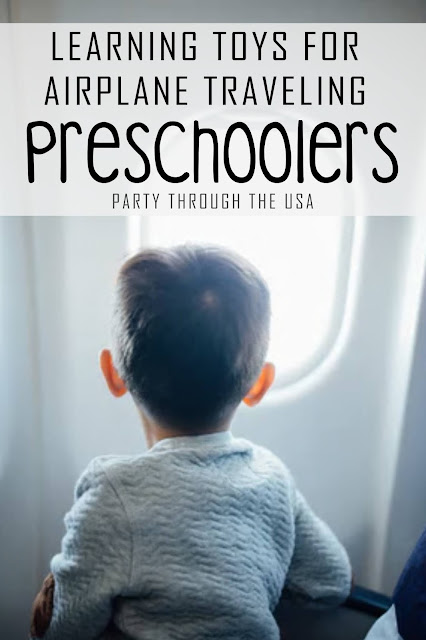A list of preschool learning toys that are great for airplane travel, because they are quiet, self-contained, reusable, and don't have too many pieces