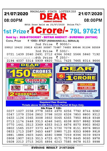 Nagaland State Lotteries 21-07-2020: Lottery Sambad Result 8:00 PM