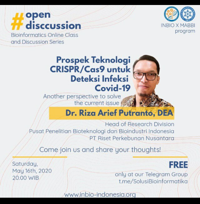 """Diskusi terbuka: """"Prospek Teknologi CRISPR/Cas9 Untuk Deteksi Covid 9"""" Sabtu, 16 Mei 2020"""