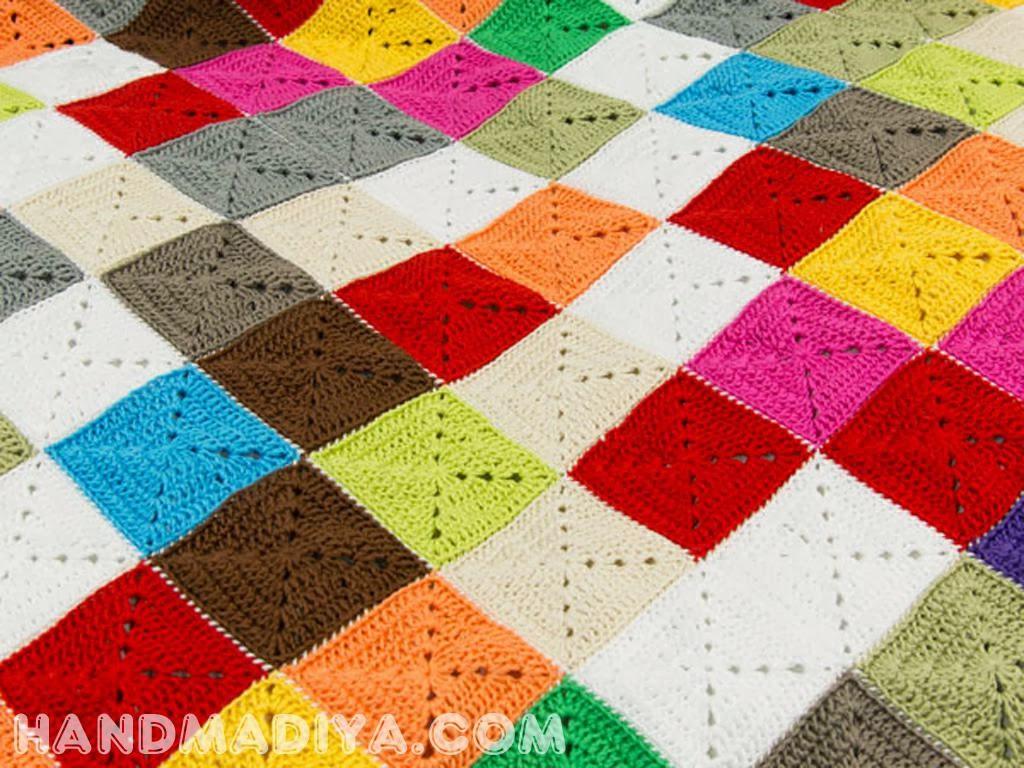 Вязаный плед в технике пэчворк. Crocheted plaid patchwork