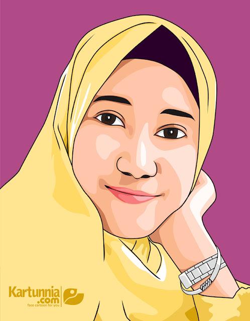 Karikatur Vector Cewek Hijab