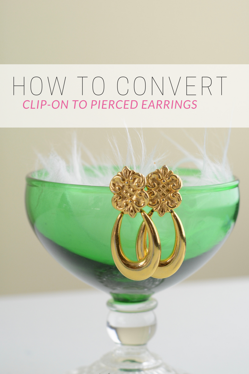 convert clip on earrings to pierced post earrings