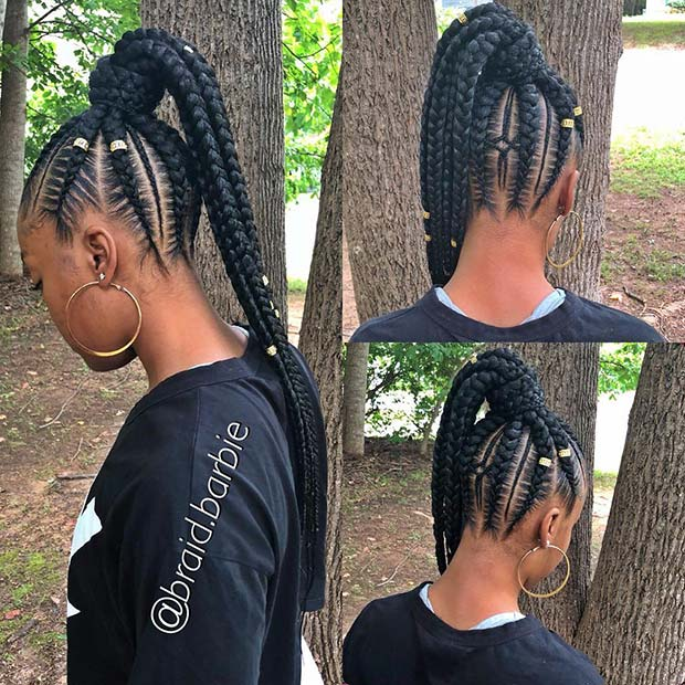 25 Elegant Lemonade Braided Ponytail Hairstyles 2019 For Black Women Fashionuki Cross the left section over the middle section, then the right over. 25 elegant lemonade braided ponytail