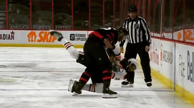 oilers senators nhl hockey fight